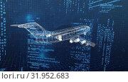 Купить «Digital 3D model of an aeroplane», видеоролик № 31952683, снято 13 июня 2019 г. (c) Wavebreak Media / Фотобанк Лори