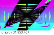 Colourful lightning flashes and moving neon lit tunnel. Стоковое видео, агентство Wavebreak Media / Фотобанк Лори