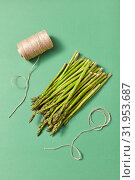Bunch of natural healthy asparagus and a coil of rope on a green background. Стоковое фото, фотограф Ярослав Данильченко / Фотобанк Лори