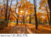 Купить «Natural autumn background, abstract blurred city park on a sunny October day», фото № 31953775, снято 16 октября 2018 г. (c) Юлия Бабкина / Фотобанк Лори