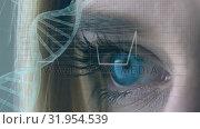 Купить «Woman and DNA double helix with a heart line», видеоролик № 31954539, снято 21 июня 2019 г. (c) Wavebreak Media / Фотобанк Лори