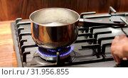 Купить «Steel pan with food over gas stove», видеоролик № 31956855, снято 30 июля 2019 г. (c) Ekaterina Demidova / Фотобанк Лори