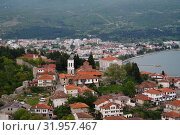 Panoramic aerial view to Ohrid lake and city from Samuels Fortress, North Macedonia (2017 год). Стоковое фото, фотограф Сергей Майоров / Фотобанк Лори
