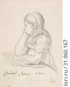Portrait of Juliane Sophie Heger as a Child, leaning on a Table, ca. 1820 (?), Graphite, pen and brown ink, sheet: 6 1/8 x 4 5/16 in. (15.6 x 11 cm), Drawings... (2017 год). Редакционное фото, фотограф © Copyright Artokoloro Quint Lox Limited / age Fotostock / Фотобанк Лори