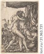 Hercules Fighting the Centaurs, 1577, Engraving, sheet: 3 3/4 x 2 11/16 in. (9.6 x 6.9 cm), Prints, Master PM (German, active ca. 1577) (2017 год). Редакционное фото, фотограф © Copyright Artokoloro Quint Lox Limited / age Fotostock / Фотобанк Лори