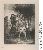 The Wounded Goetz Taken In by the Gypsies, 1836–43, Lithograph, second state of two, Image: 11 15/16 × 9 1/16 in. (30.3 × 23 cm), Prints, Eugène Delacroix... (2017 год). Редакционное фото, фотограф © Copyright Artokoloro Quint Lox Limited / age Fotostock / Фотобанк Лори