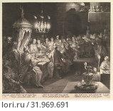 Купить «Balthazar's Feast, ca. 1624, Engraving, second state of three, 13 15/16 × 15 1/2 in. (35.4 × 39.3 cm), Prints, Jan Muller (Netherlandish, Amsterdam 1571–1628 Amsterdam)», фото № 31969691, снято 22 апреля 2017 г. (c) age Fotostock / Фотобанк Лори