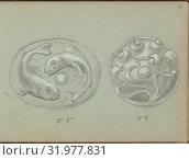 Купить «Two Designs A Push Bell, 1899, Graphite and gouache, sheet: 3 1/2 x 5 in. (8.9 x 12.7 cm), Edgar Gilstrap Simpson (British, 1867–1945 (presumed)), Two...», фото № 31977831, снято 27 апреля 2017 г. (c) age Fotostock / Фотобанк Лори