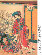 Genji roku no hana, 1854, Japan, One sheet of a triptych of polychrome woodblock prints, ink and color on paper, 14 5/8 x 10 in. (37.1 x 25.4 cm), Prints, Utagawa Kunisada (Japanese, 1786–1865) (2017 год). Редакционное фото, фотограф © Artokoloro Quint Lox Limited / age Fotostock / Фотобанк Лори