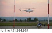 Купить «Helicopter approaching before landing», видеоролик № 31984999, снято 25 июля 2019 г. (c) Игорь Жоров / Фотобанк Лори