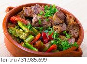Bulgarian baked meat and vegetables (Gyuvech) Стоковое фото, фотограф Яков Филимонов / Фотобанк Лори