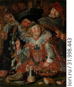 Merrymakers at Shrovetide, ca. 1616–17, Oil on canvas, 51 3/4 x 39 1/4 in. (131.4 x 99.7 cm), Paintings, Frans Hals (Dutch, Antwerp 1582/83–1666 Haarlem... (2017 год). Редакционное фото, фотограф © Copyright Artokoloro Quint Lox Limited / age Fotostock / Фотобанк Лори