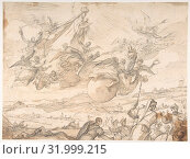 The Virgin Intervening during a Siege of Madrid, ca. 1699, Brush and brown wash over lead or black chalk, 10 1/2 x 14in. (26.6 x 35.6cm), Drawings, Luca Giordano (Italian, Naples 1634–1705 Naples) (2017 год). Редакционное фото, фотограф © Copyright Artokoloro Quint Lox Limited / age Fotostock / Фотобанк Лори