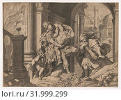 Aeneas and his family fleeing Troy, 1595, Engraving, Sheet (Trimmed): 15 1/4 × 20 7/8 in. (38.7 × 53 cm), Prints, Agostino Carracci (Italian, Bologna... (2017 год). Редакционное фото, фотограф © Copyright Artokoloro Quint Lox Limited / age Fotostock / Фотобанк Лори