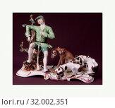 Купить «Hunter with Hounds, ca. 1760, German, Höchst, Hard-paste porcelain, Length: 8 5/8 in. (21.9 cm), Ceramics-Porcelain», фото № 32002351, снято 18 июня 2017 г. (c) age Fotostock / Фотобанк Лори