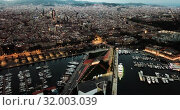 Купить «View from drones of sailboats and yachts in old port of Barcelona and gothic quarter at night», видеоролик № 32003039, снято 28 сентября 2018 г. (c) Яков Филимонов / Фотобанк Лори