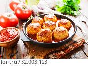 Купить «Meatballs in tomato sauce», фото № 32003123, снято 26 июня 2019 г. (c) Надежда Мишкова / Фотобанк Лори