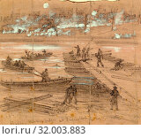 Купить «Building pontoon bridges at Fredericksburg Dec. 11th, 1862 December 11, drawing on pink-tan paper pencil and Chinese white, 20.7 x 23.4 cm. (sheet), 1862...», фото № 32003883, снято 7 августа 2014 г. (c) age Fotostock / Фотобанк Лори