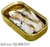 Купить «Tin can with smoked sprats, sardines, closeup», фото № 32009511, снято 14 декабря 2019 г. (c) Яков Филимонов / Фотобанк Лори