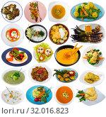Купить «Collection of vegetable meals», фото № 32016823, снято 17 сентября 2019 г. (c) Яков Филимонов / Фотобанк Лори
