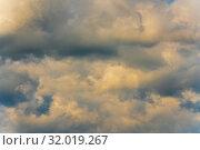 Купить «Великолепный вид на золотистые летние облака на небе. Натуральный природный фон, мягкий фокус», фото № 32019267, снято 12 августа 2019 г. (c) А. А. Пирагис / Фотобанк Лори