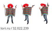Купить «Funny mexican holding pistol isolated on white», фото № 32022239, снято 10 февраля 2015 г. (c) Elnur / Фотобанк Лори