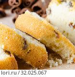 Купить «Sweet bread with raisins baked for christmas», фото № 32025067, снято 24 ноября 2017 г. (c) Elnur / Фотобанк Лори