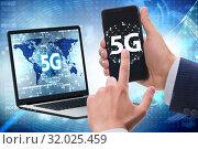 Купить «5G mobile technology concept - high internet speed», фото № 32025459, снято 21 сентября 2019 г. (c) Elnur / Фотобанк Лори