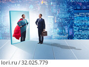 Купить «Businessman seeing himself in mirror as superhero», фото № 32025779, снято 2 июня 2020 г. (c) Elnur / Фотобанк Лори