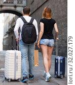 Купить «Couple going the historic city center», фото № 32027179, снято 25 мая 2017 г. (c) Яков Филимонов / Фотобанк Лори