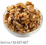 Купить «Close up of raw peeled walnut on white background», фото № 32027427, снято 24 августа 2019 г. (c) Яков Филимонов / Фотобанк Лори