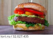 Купить «Veggie burger with falafel», фото № 32027435, снято 20 января 2020 г. (c) Яков Филимонов / Фотобанк Лори