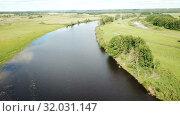 Купить «Panoramic view of gulf meadows in the floodplain of the Oka River, Russia», видеоролик № 32031147, снято 27 июня 2018 г. (c) Яков Филимонов / Фотобанк Лори