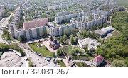 Купить «View of Stary Oskol with the Alexander Nevsky Cathedral at sunny day, Russia», видеоролик № 32031267, снято 4 мая 2019 г. (c) Яков Филимонов / Фотобанк Лори