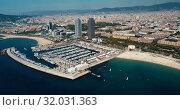 Купить «Shoreline of Barcelona is colorful landmark of Spain outdoors.», видеоролик № 32031363, снято 27 июня 2018 г. (c) Яков Филимонов / Фотобанк Лори