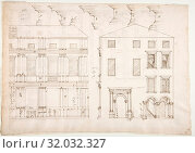 Купить «Villa Farnesina, Stables, half front elevation and end elevation (recto) Palazzo Salviati-Adimari, plan (verso), early to mid-16th century , Dark brown...», фото № 32032327, снято 22 мая 2017 г. (c) age Fotostock / Фотобанк Лори