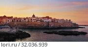 Купить «Sunset panorama of Monopoli harbor in Apulia, Italy», фото № 32036939, снято 10 августа 2019 г. (c) Алексей Кузнецов / Фотобанк Лори