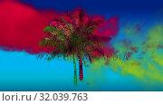Купить «Red and yellow smoke and a palm tree», видеоролик № 32039763, снято 8 мая 2019 г. (c) Wavebreak Media / Фотобанк Лори