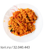 Купить «Plate of tasty seafood paella with rice, mussels and shrimps», фото № 32040443, снято 6 июня 2020 г. (c) Яков Филимонов / Фотобанк Лори