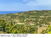 Купить «Llandscape on the Kassandra peninsula, Chalkidiki, Greece», фото № 32052027, снято 13 июня 2019 г. (c) Boris Breytman / Фотобанк Лори