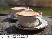 Купить «Two cups of cappuccino, close up», фото № 32052243, снято 1 мая 2019 г. (c) EugeneSergeev / Фотобанк Лори