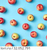 Купить «Fruit apples pattern on blue.», фото № 32052791, снято 5 июля 2019 г. (c) Ярослав Данильченко / Фотобанк Лори