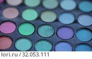 Купить «Paints for make-up Macro 100mm slider camera smooth motion», видеоролик № 32053111, снято 20 августа 2019 г. (c) Aleksejs Bergmanis / Фотобанк Лори