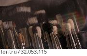 Купить «Brushes for Makeup artists Macro 100mm slider camera smooth motion», видеоролик № 32053115, снято 20 августа 2019 г. (c) Aleksejs Bergmanis / Фотобанк Лори