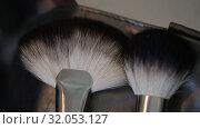 Купить «Brushes for Makeup artists Macro 100mm slider camera smooth motion», видеоролик № 32053127, снято 20 августа 2019 г. (c) Aleksejs Bergmanis / Фотобанк Лори