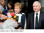 25.08.2011 Warsaw, Poland. Pictured: Jaroslaw Kaczynski and politician Zyta Gilowska. Редакционное фото, фотограф BE&W AGENCJA FOTOGRAFICZNA SP. / age Fotostock / Фотобанк Лори