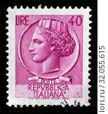 Купить «Allegory of Italy from coin of Syracuse, postage stamp, Italy, 1953.», фото № 32055615, снято 6 декабря 2010 г. (c) age Fotostock / Фотобанк Лори