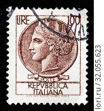 Купить «Allegory of Italy from coin of Syracuse, postage stamp, Italy, 1953.», фото № 32055623, снято 6 декабря 2010 г. (c) age Fotostock / Фотобанк Лори