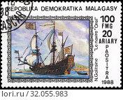 Russian battleship Orel, postage stamp, Madagascar, Malagasy, 1988. (2015 год). Редакционное фото, фотограф Ivan Vdovin / age Fotostock / Фотобанк Лори