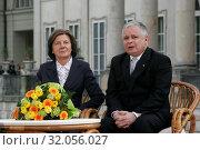 May 3, 2006. Warsaw, Poland. Presidential couple Lech Kaczynski with his wife Maria during Constitution Day. Редакционное фото, фотограф nowak rafal / age Fotostock / Фотобанк Лори
